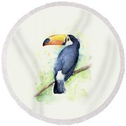 Toucan Watercolor Round Beach Towel