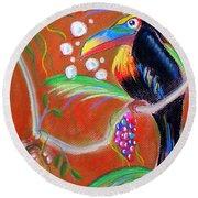 Toucanwine Bird Round Beach Towel
