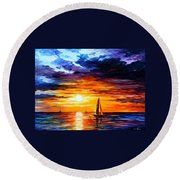 Touch Of Horizon Round Beach Towel