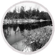 Touch Of Winter Black And White Round Beach Towel