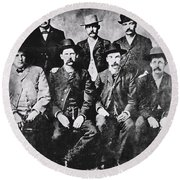 Tough Men Of The Old West Round Beach Towel
