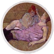 Toulouse Lautrec The Sofa Round Beach Towel