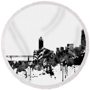 Toulouse Skyline-black Round Beach Towel