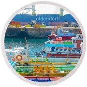 Tour Boats In Port Of Valparaiso-chile Round Beach Towel