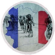Tour De France Round Beach Towel