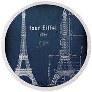 Tour Eiffel Engineering Blueprint Round Beach Towel