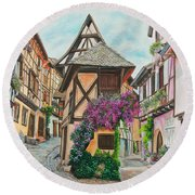 Touring In Eguisheim Round Beach Towel