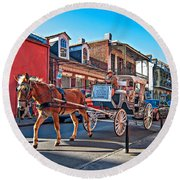 Touring The French Quarter Round Beach Towel
