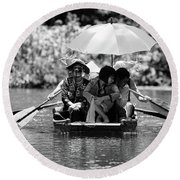 Tourist Boating Thru Tam Coc Bw Round Beach Towel