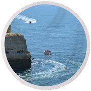 Tourist Boats And Cliffs In Algarve Round Beach Towel