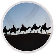 Tourists On Camels Along Top Of Erg Round Beach Towel