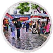 Tourists - Paris - Place Du Tertre Round Beach Towel