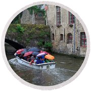 Tourists With Umbrellas In A Sightseeing Boat On The Canal In Bruges Round Beach Towel