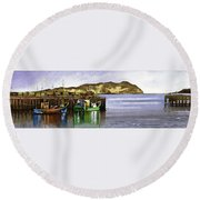 Towards Davaar From Campbeltown Round Beach Towel