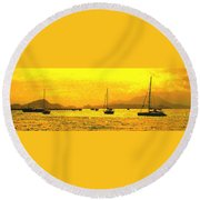 Towards Nevis Round Beach Towel