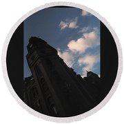 Tower And Clouds Round Beach Towel