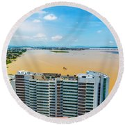 Tower And Guayas River Round Beach Towel