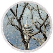 Tower And Trees Round Beach Towel