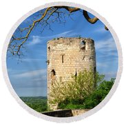 Tower At Chateau De Chinon Round Beach Towel