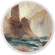Tower At Tower Falls, Yellowstone Round Beach Towel