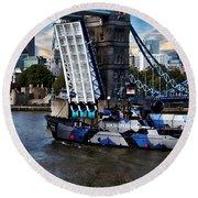 Tower Bridge And Boat Round Beach Towel