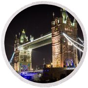 Tower Bridge At Night Round Beach Towel