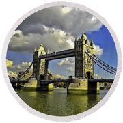 Tower Bridge I Round Beach Towel