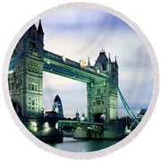 Tower Bridge - London Round Beach Towel