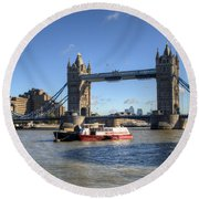 Tower Bridge With Canary Wharf In The Background Round Beach Towel