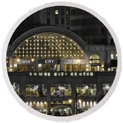 Tower City Close Up Round Beach Towel