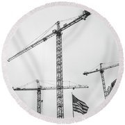 Tower Cranes Bw Construction Art Round Beach Towel