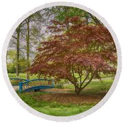 Tower Grove Arched Bridge And Maple Tree Dsc01828 Round Beach Towel