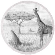 Tower In The Bush Round Beach Towel