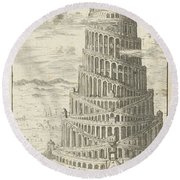 Tower Of Babel  Round Beach Towel