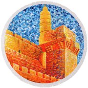 Tower Of David At Night Jerusalem Original Palette Knife Painting Round Beach Towel