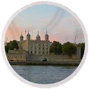 Tower Of London On The Thames Round Beach Towel
