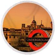 Tower Of London. Round Beach Towel