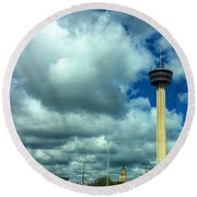 Tower Of The Americas Scene Round Beach Towel