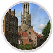 Tower Of The Belfrey From The Canal At Rozenhoedkaai Round Beach Towel