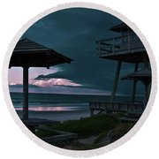 Tower Over The Shoreline Round Beach Towel