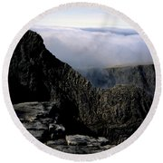 Tower Ridge From Ben Nevis Summit Fort William Lochaber Invernesshire Scotland Round Beach Towel