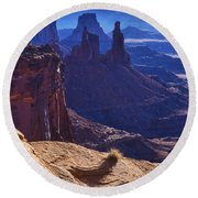 Tower Sunrise Round Beach Towel by Chad Dutson