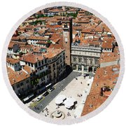 Tower View Of Piazza Delle Erbe In Verona Italy Round Beach Towel
