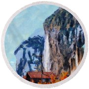 Towering Cliffs And Houses Round Beach Towel