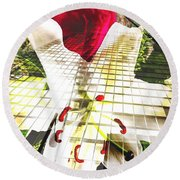 Towering Lily And Rose Round Beach Towel
