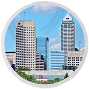 Towering Over Indy Round Beach Towel