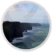 Towering Sea Cliffs In Ireland's County Clare Round Beach Towel