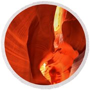 Towering Walls Of Antelope Canyon Round Beach Towel