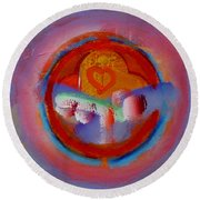 Towers In The Mist Round Beach Towel