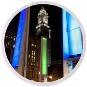 Towers Of Light Round Beach Towel